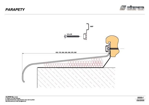 Budowa/przekrój parapetu zewnętrznego
