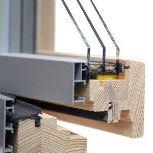 Okno - z zewnątrz aluminium a od wewnątrz drewno